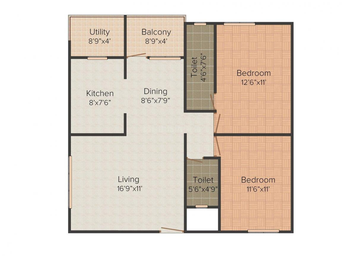 Floor Plan Image of 1005 - 1585 Sq.ft 3 BHK Apartment for buy in Venugopal Residency