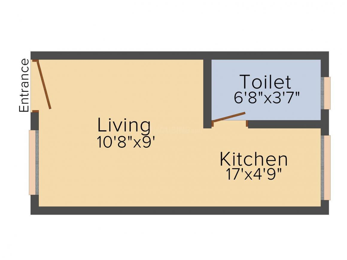 Shree Ganesh Residency Floor Plan: 1 BHK Unit with Built up area of 340 sq.ft 1