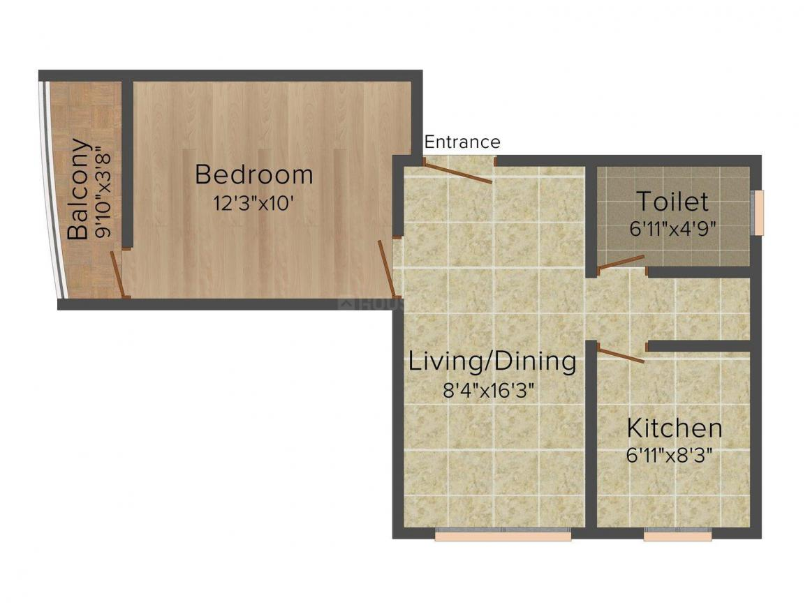 Floor Plan Image of 578 - 829 Sq.ft 1 BHK Apartment for buy in MSS 1048 MG Road