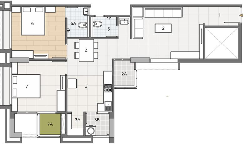 Dwarkesh Opulence Floor Plan: 2 BHK Unit with Built up area of 1345 sq.ft 1