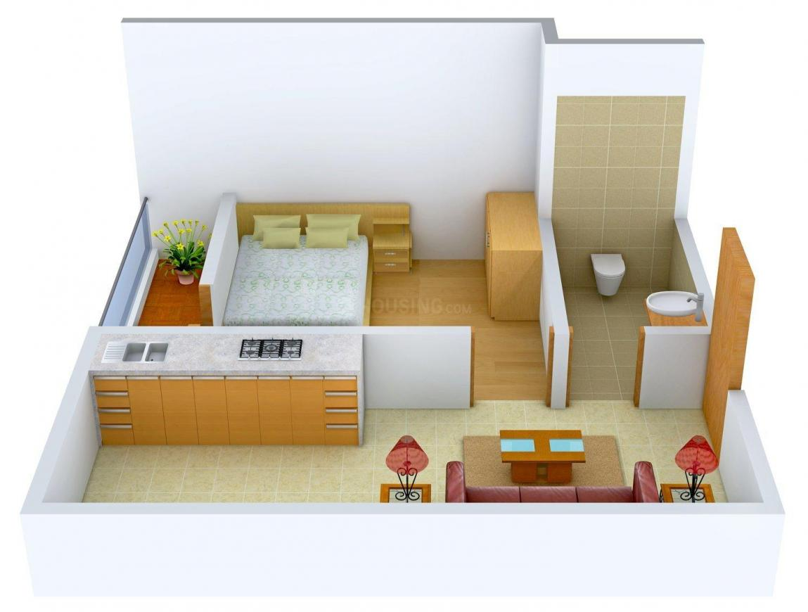 Raunak Cdn Tower Floor Plan: 1 BHK Unit with Built up area of 501 sq.ft 1