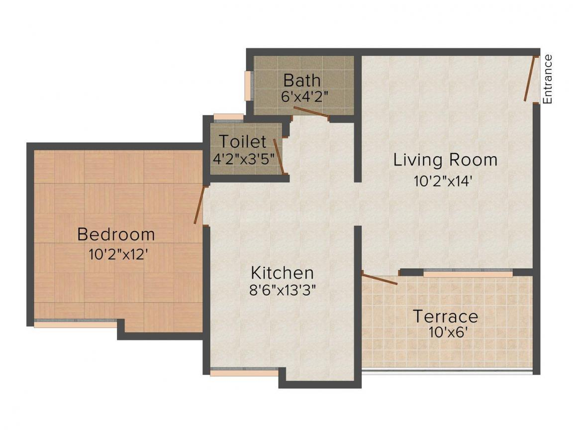 Floor Plan Image of 616.0 - 937.0 Sq.ft 1 BHK Apartment for buy in Kiran Solitaire