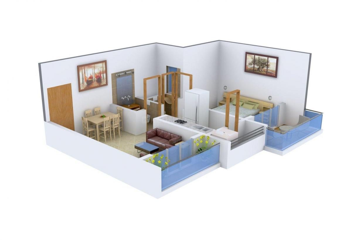 Floor Plan Image of 650 - 1045 Sq.ft 1 BHK Apartment for buy in SR SM Heights
