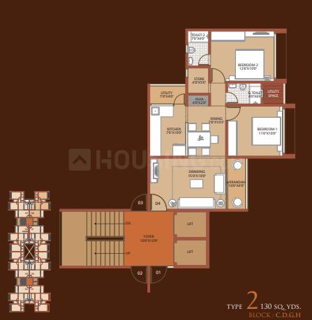 Dharmadev Swaminarayan Park 2 Narol Floor Plan: 2 BHK Unit with Built up area of 1125 sq.ft 1