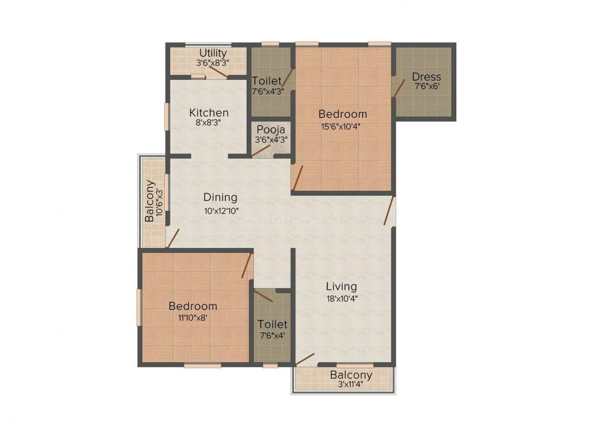 Floor Plan Image of 1091 - 1105 Sq.ft 2 BHK Apartment for buy in Kamga Sri Sai Ram Apartment