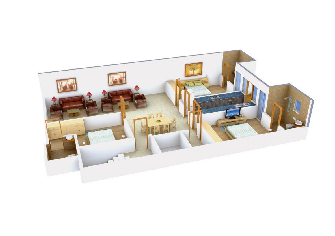 Shyam Homes - 4 Floor Plan: 3 BHK Unit with Built up area of 1425 sq.ft 1