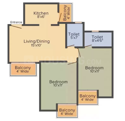 Floor Plan Image of 895.0 - 3075.0 Sq.ft 2 BHK Apartment for buy in Supertech Sports Republik