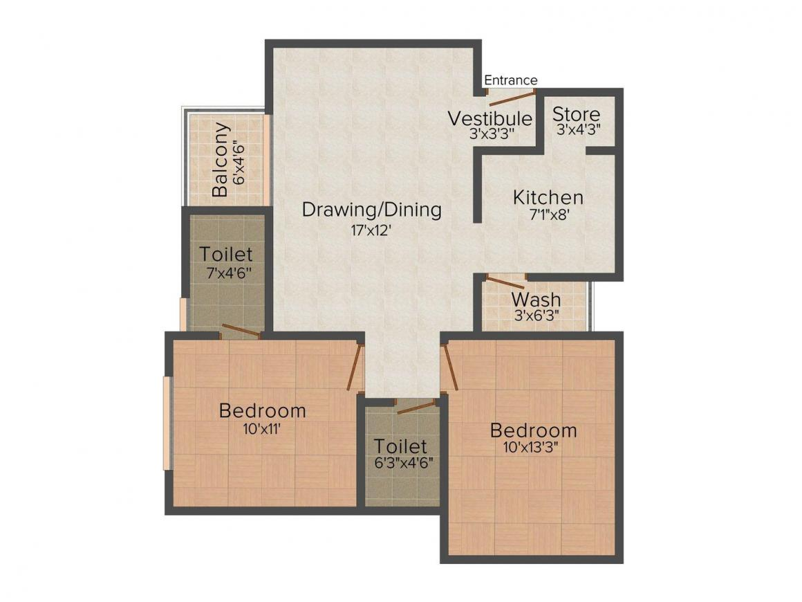 Floor Plan Image of 1215.0 - 1602.0 Sq.ft 2 BHK Apartment for buy in Siddharth Icon