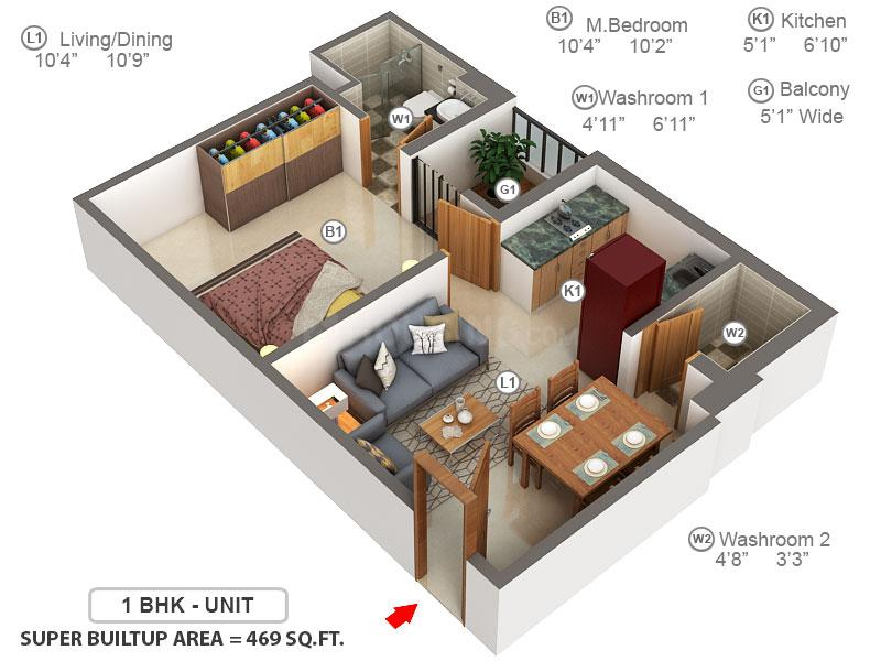 Shriram Grand City Floor Plan: 1 BHK Unit with Built up area of 469 sq.ft 1