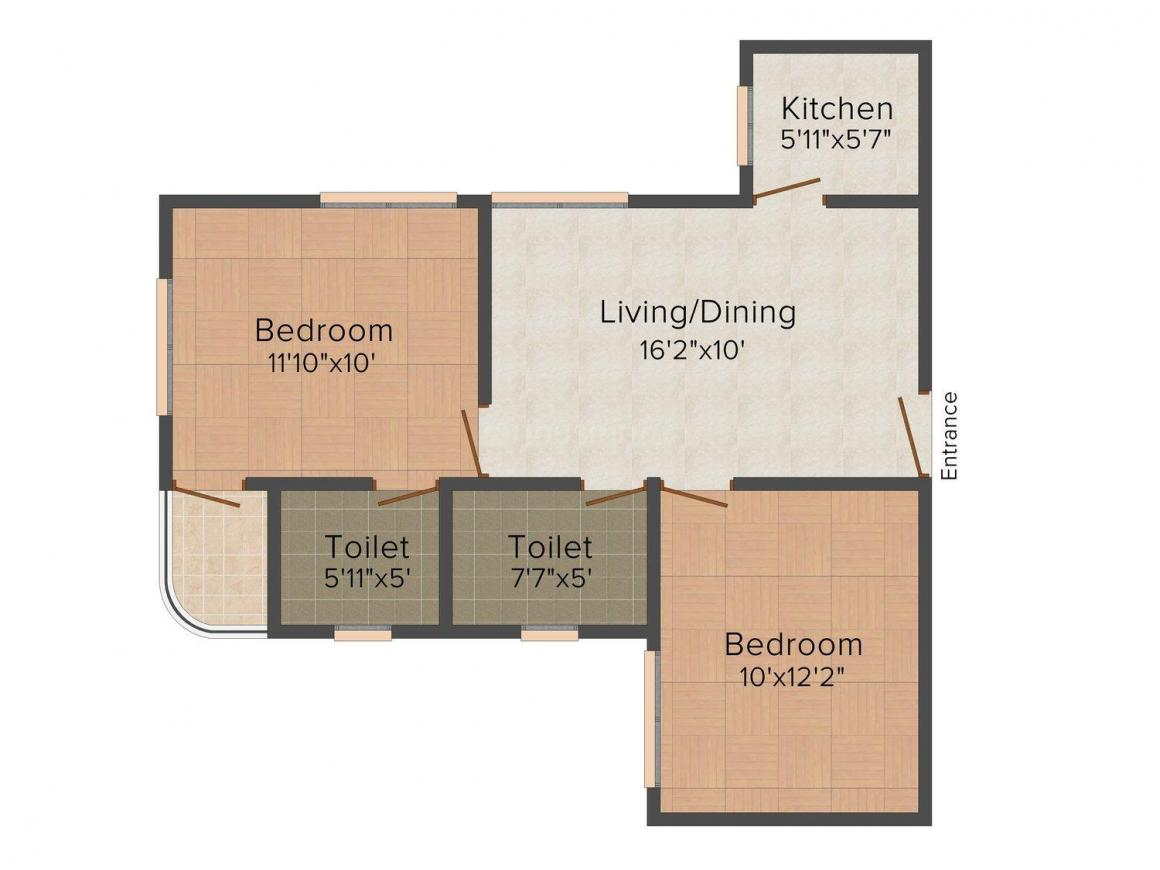 Floor Plan Image of 796.0 - 1196.0 Sq.ft 2 BHK Apartment for buy in Orchid Gangour Residency