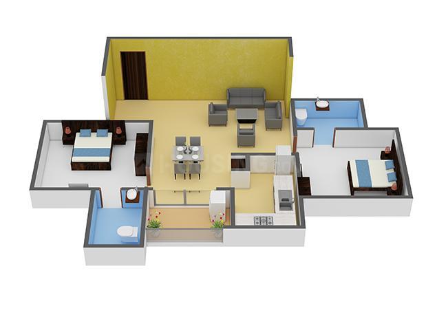 Appaswamy Splendour Floor Plan: 2 BHK Unit with Built up area of 1171 sq.ft 1