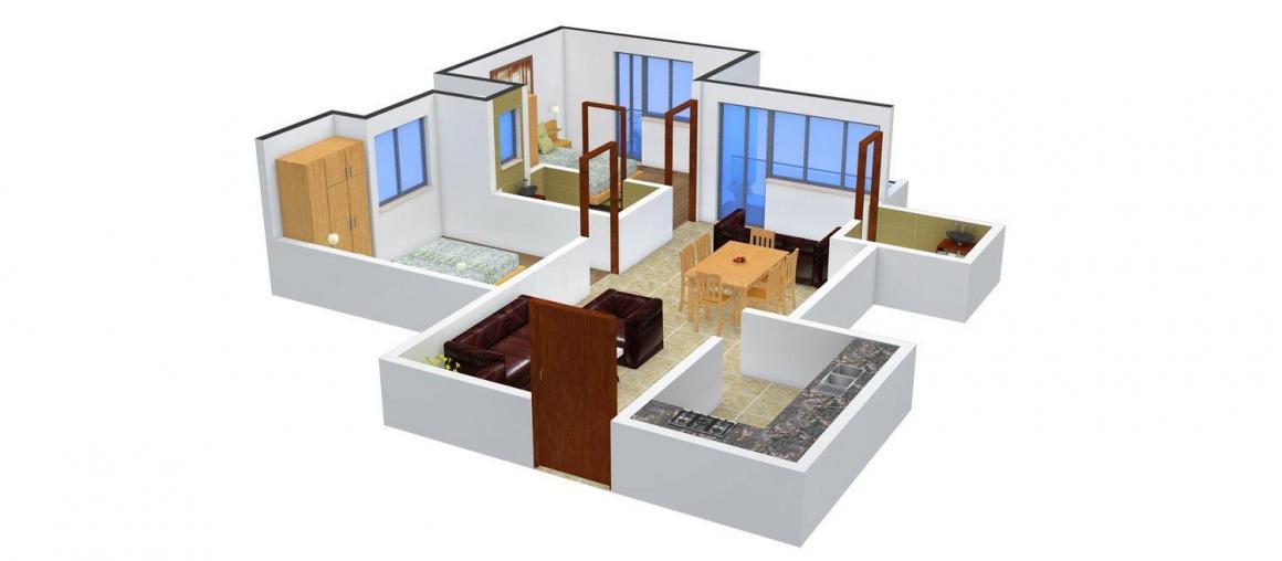 Floor Plan Image of 729 - 932 Sq.ft 2 BHK Apartment for buy in Shri Frazer Heights