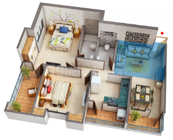 Runwal The Sanctuary Tower 5 Floor Plan: 2 BHK Unit with Built up area of 643 sq.ft 1