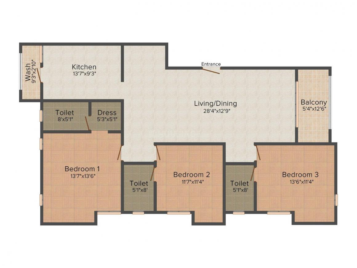 Floor Plan Image of 0 - 1750 Sq.ft 3 BHK Apartment for buy in Horizon Homes