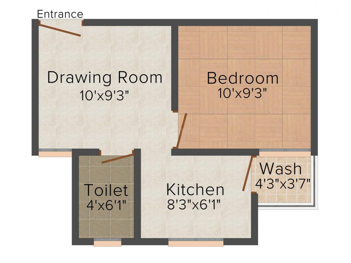 Floor Plan Image of 585.0 - 675.0 Sq.ft 1 BHK Apartment for buy in Shukra Shanti Shukra