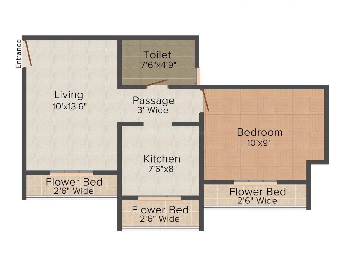 Floor Plan Image of 610.0 - 835.0 Sq.ft 1 BHK Apartment for buy in Shiv Shankar Residency