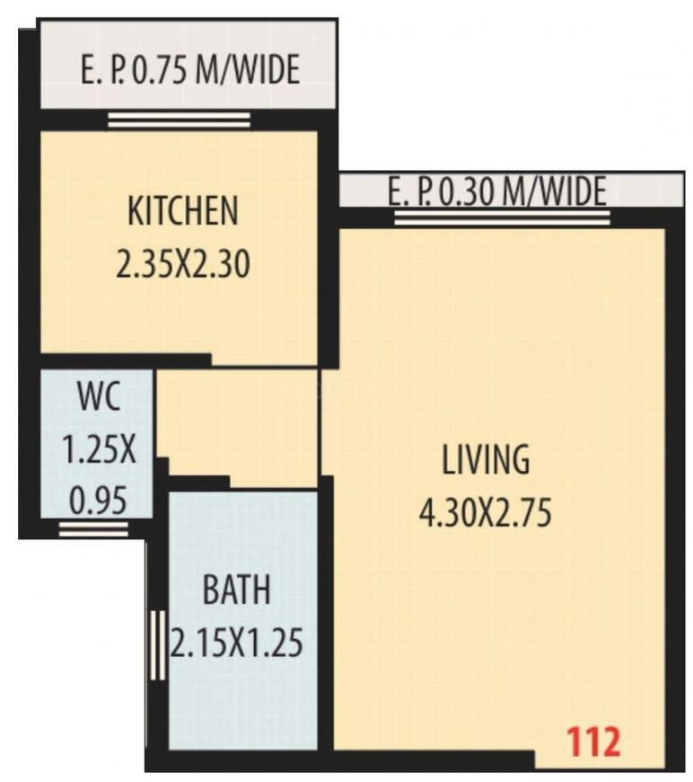 Seven Hill Sky Avenue Wing A And B Floor Plan: 1 BHK Unit with Built up area of 204 sq.ft 1