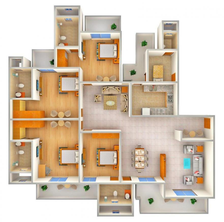 ATS Kocoon Floor Plan: 4 BHK Unit with Built up area of 3045 sq.ft 1