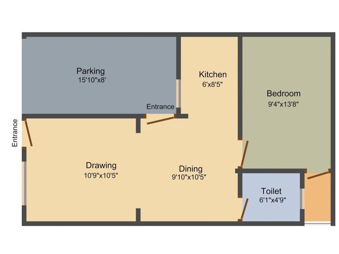 Raj Harsh Vihar Villas Floor Plan: 1 BHK Unit with Built up area of 648 sq.ft 1