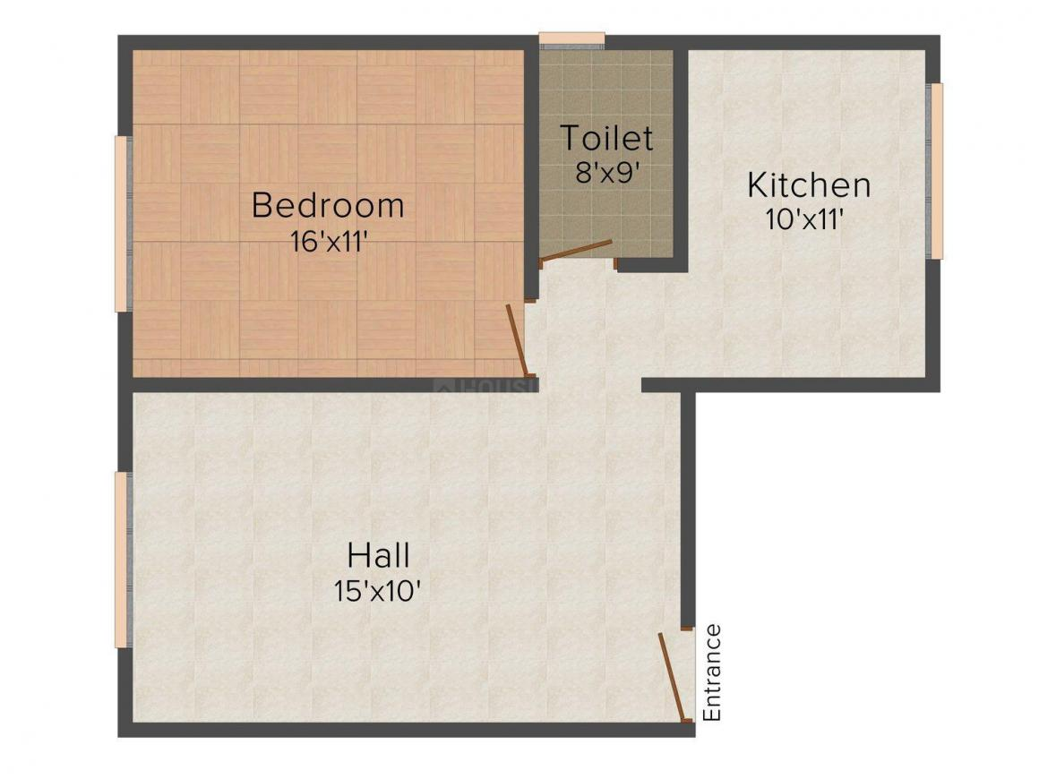 Anjali Apartment Floor Plan: 1 BHK Unit with Built up area of 617 sq.ft 1