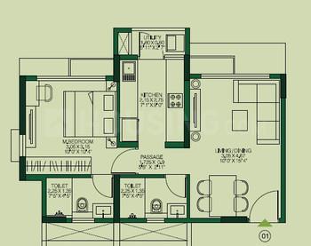 Godrej Urban Park Floor Plan: 1 BHK Unit with Built up area of 431 sq.ft 1