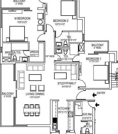 Lotus Greens Square Residences Floor Plan: 3 BHK Unit with Built up area of 1950 sq.ft 1
