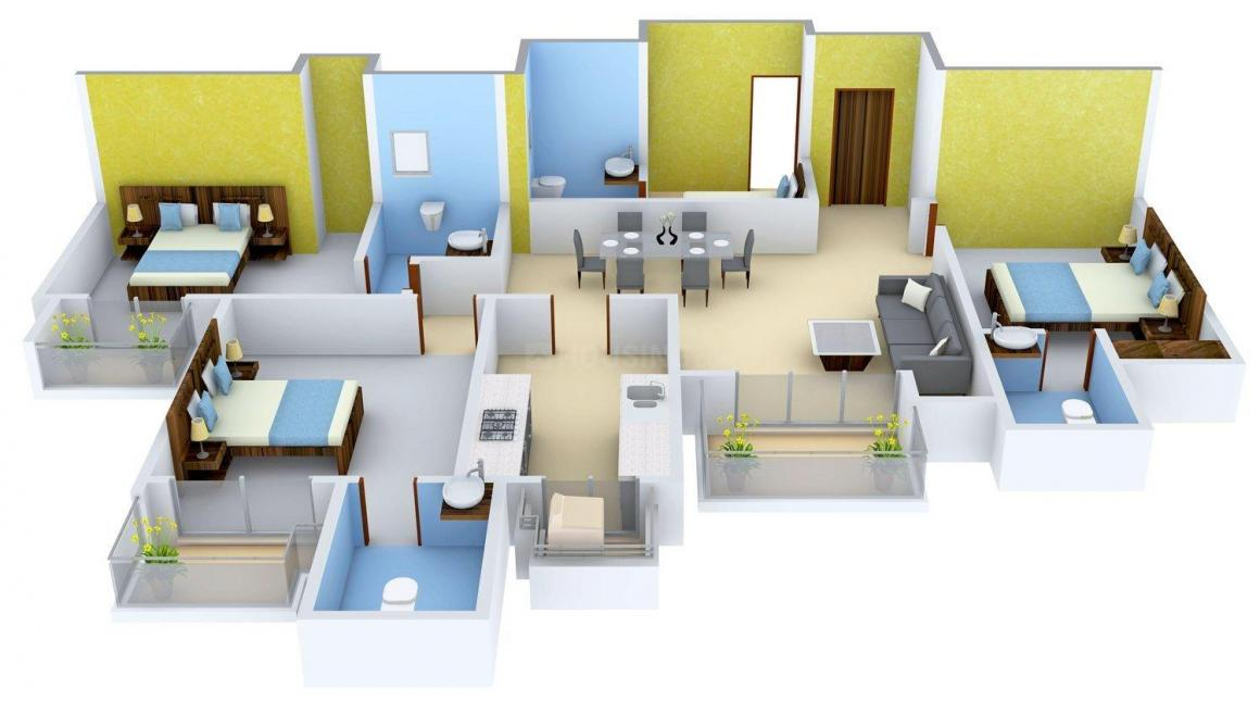 Floor Plan Image of 1975.0 - 2704.0 Sq.ft 3 BHK Apartment for buy in DLF Park Place