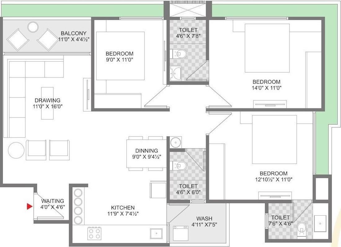 Parth Merriment Parmeshwar Floor Plan: 3 BHK Unit with Built up area of 936 sq.ft 1