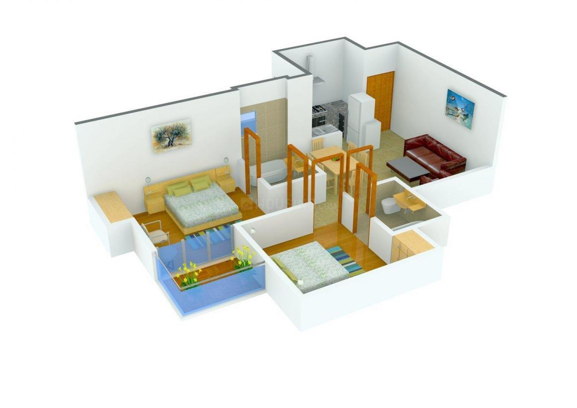 Aditya GZB Urban Casa Floor Plan: 2 BHK Unit with Built up area of 875 sq.ft 1