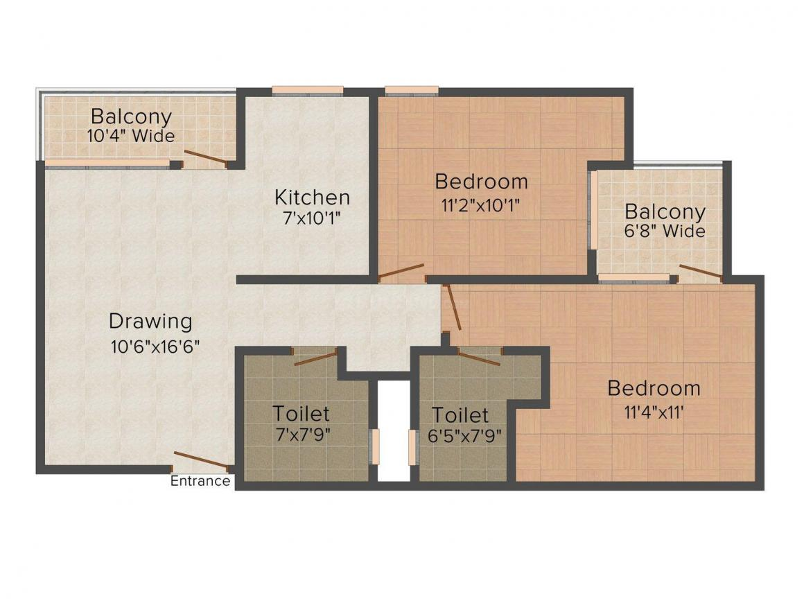Floor Plan Image of 1116.0 - 1670.0 Sq.ft 2 BHK Apartment for buy in Rudra Aakash
