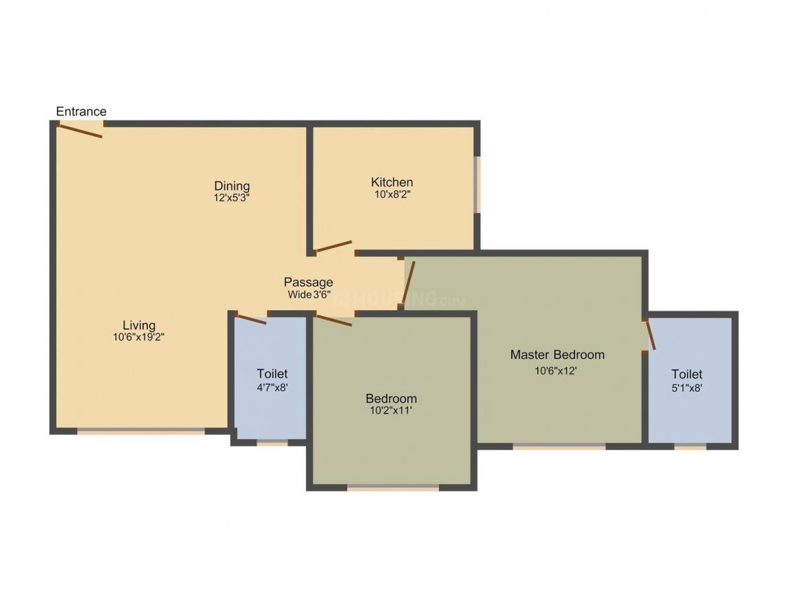 Lotus Surprising Versova Floor Plan: 2 BHK Unit with Built up area of 1180 sq.ft 1