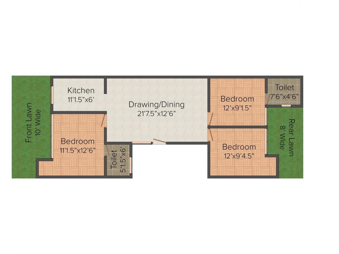 Floor Plan Image of 0 - 1179.0 Sq.ft 3 BHK Independent Floor for buy in Shiv Shakti Floors 3