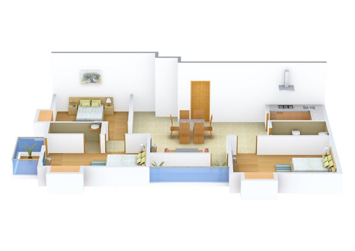 Floor Plan Image of 1490 - 1550 Sq.ft 3 BHK Apartment for buy in Mayfair Tulip