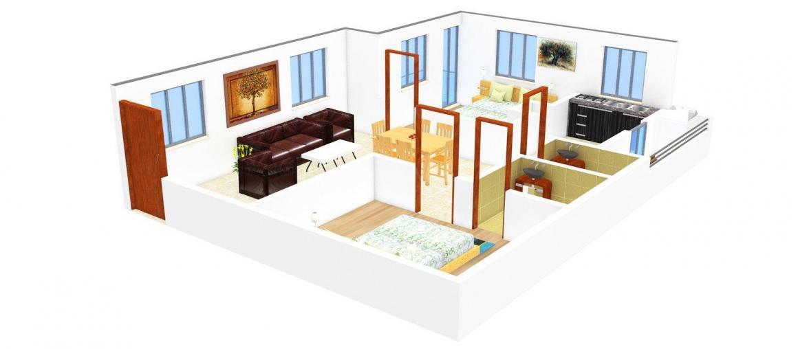 Vijay Sreenivasam Floor Plan: 2 BHK Unit with Built up area of 1060 sq.ft 1