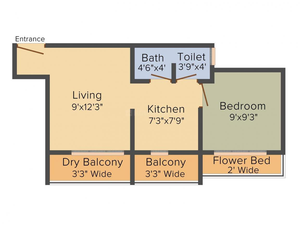 Floor Plan Image of 0 - 558.0 Sq.ft 1 BHK Apartment for buy in Balaji Green City