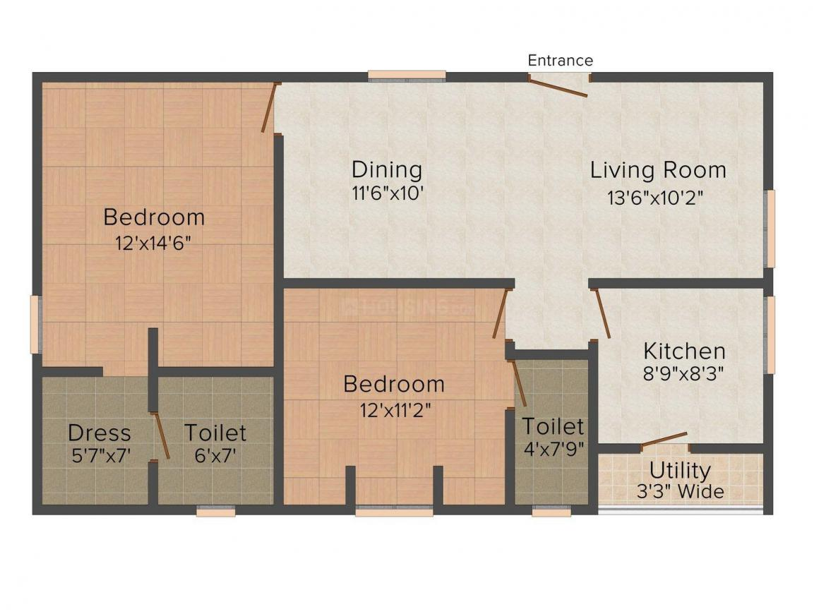 Floor Plan Image of 1121.0 - 1400.0 Sq.ft 2 BHK Apartment for buy in Shree Padma Gowthami Heights
