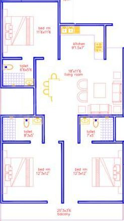 Surendra Bharat Homes Floor Plan: 3 BHK Unit with Built up area of 1200 sq.ft 1