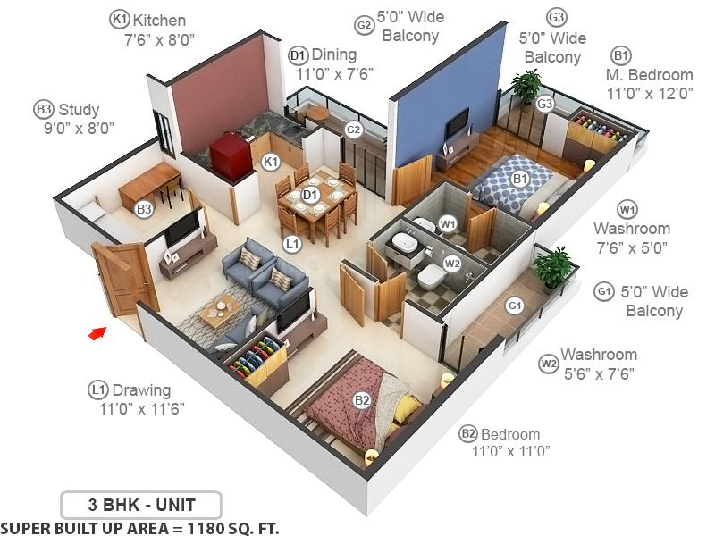 Green Arch Floor Plan: 2 BHK Unit with Built up area of 1180 sq.ft 1