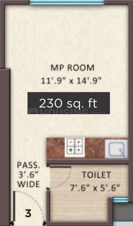 Shreedham Splendour Floor Plan: 1 BHK Unit with Built up area of 230 sq.ft 1