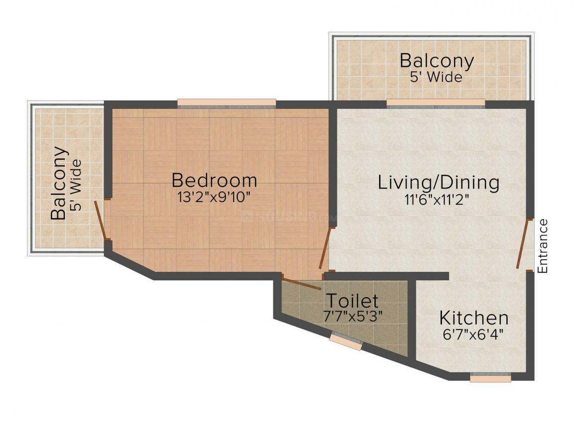 Floor Plan Image of 603 - 1524 Sq.ft 1 BHK Apartment for buy in Models Alegria