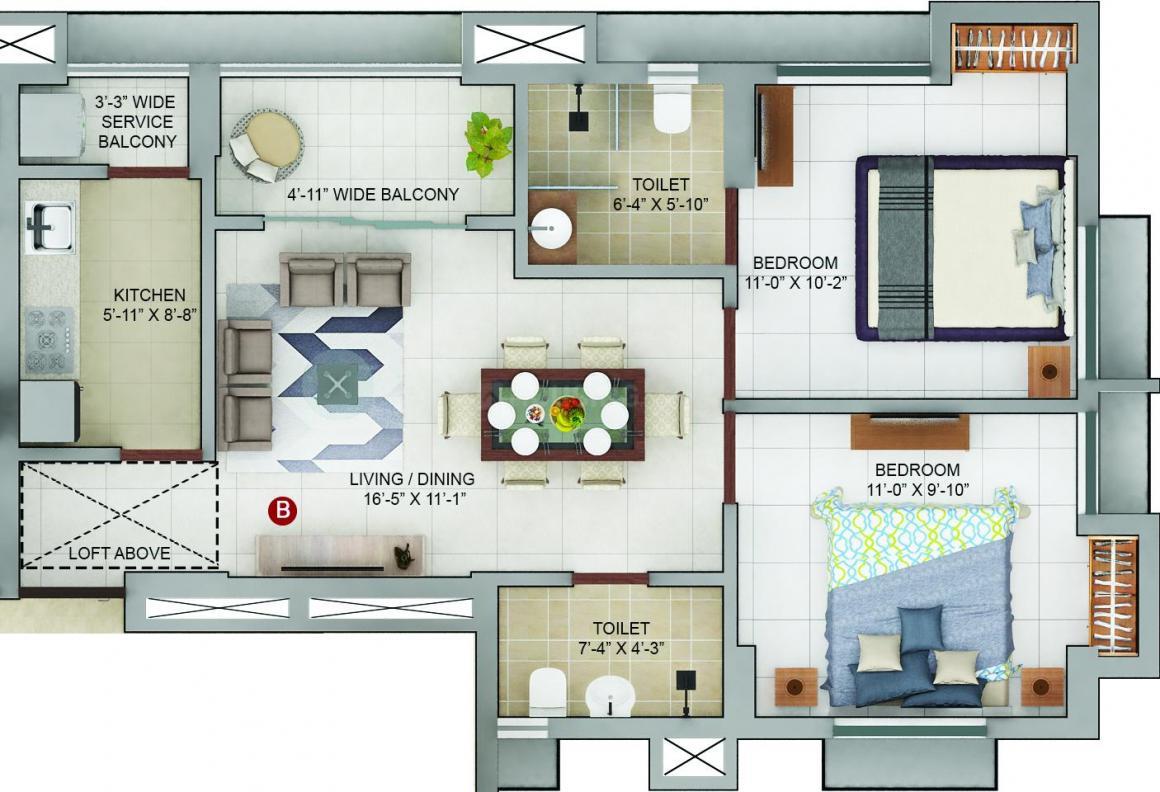 Merlin Urvan Floor Plan: 2 BHK Unit with Built up area of 687 sq.ft 1