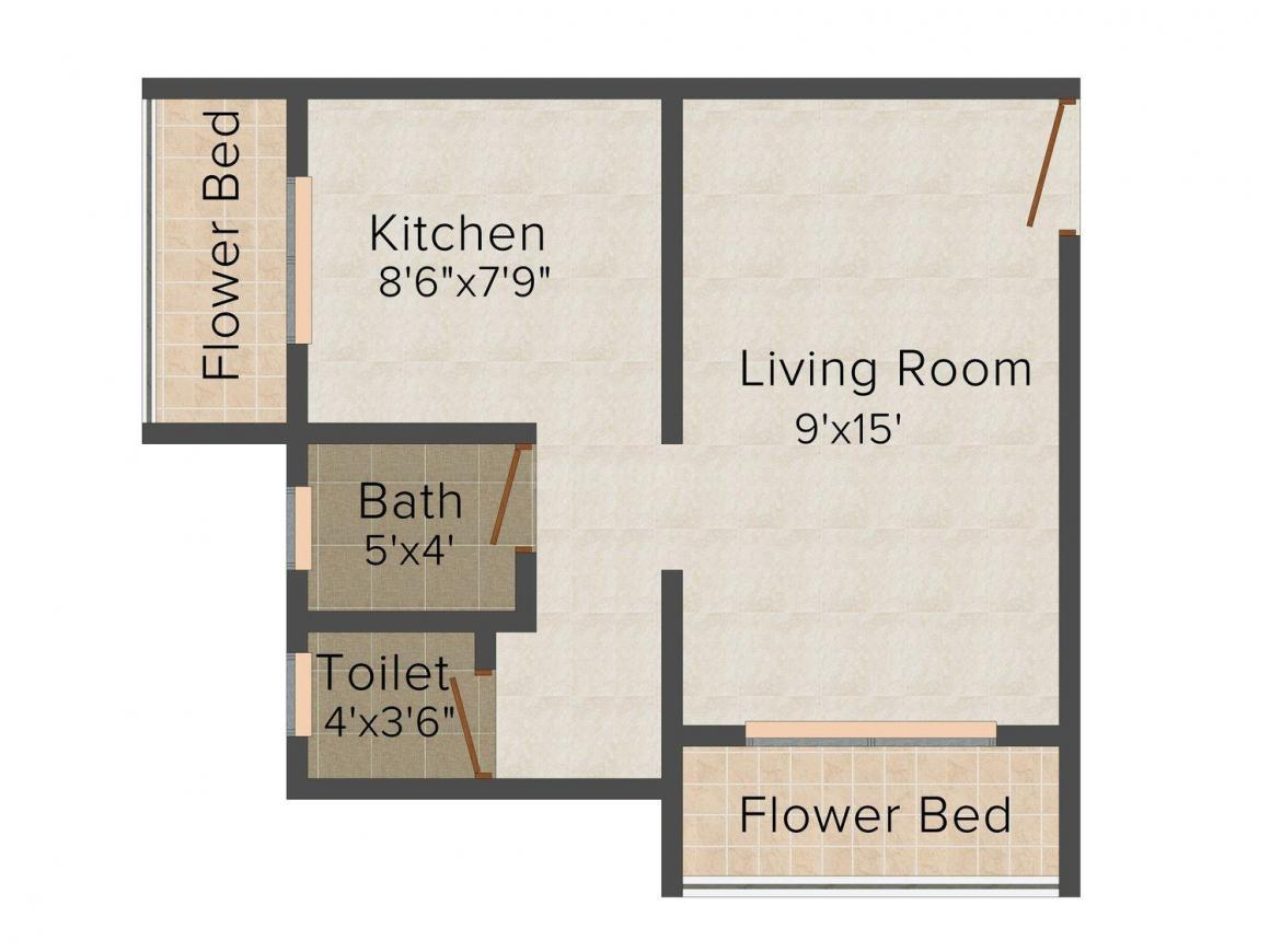 Floor Plan Image of 281.0 - 393.0 Sq.ft 1 R Apartment for buy in Goldfield Saurabh Apartment