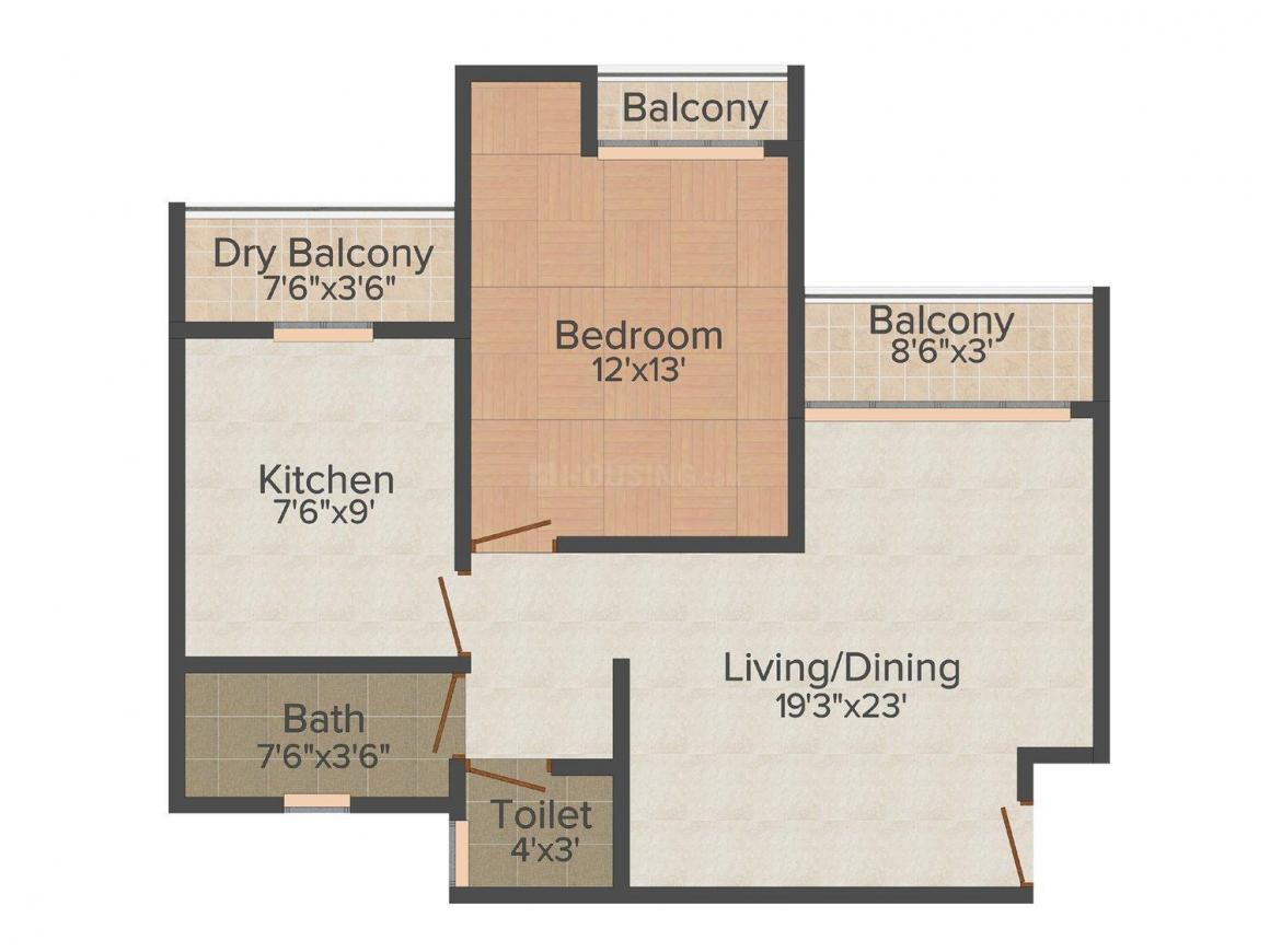 Floor Plan Image of 580.0 - 940.0 Sq.ft 1 BHK Apartment for buy in Vinay Classic