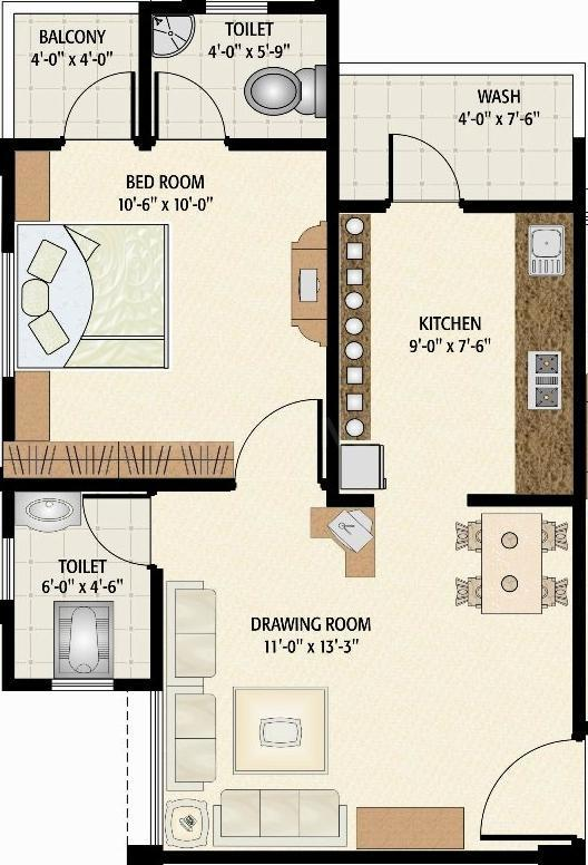 Simandhar Simandhar Homes Floor Plan: 1 BHK Unit with Built up area of 765 sq.ft 1