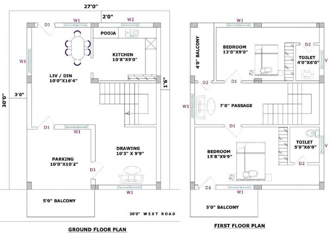 Mantoor Nandan County Floor Plan: 2 BHK Unit with Built up area of 1100 sq.ft 1