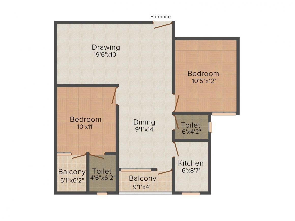 Agrani Urmila Floor Plan: 2 BHK Unit with Built up area of 1005 sq.ft 1