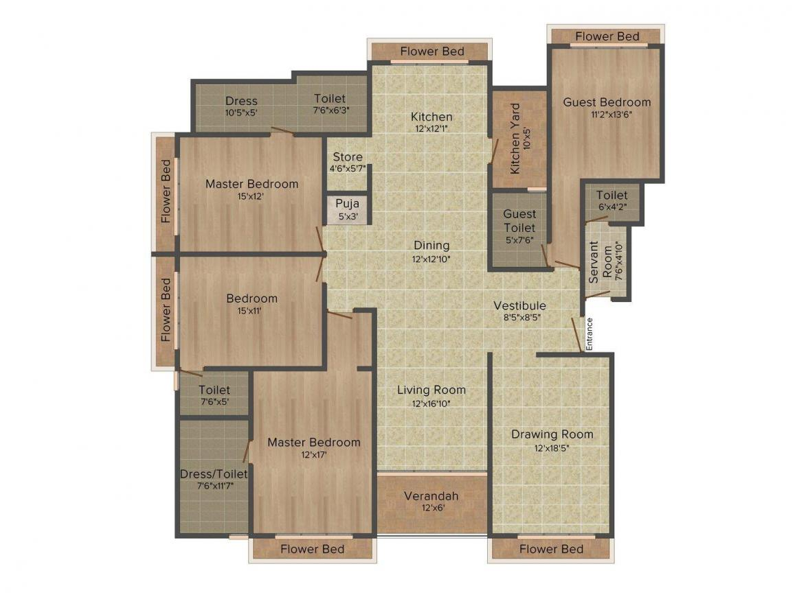 V10 Residences Floor Plan: 4 BHK Unit with Built up area of 3660 sq.ft 1