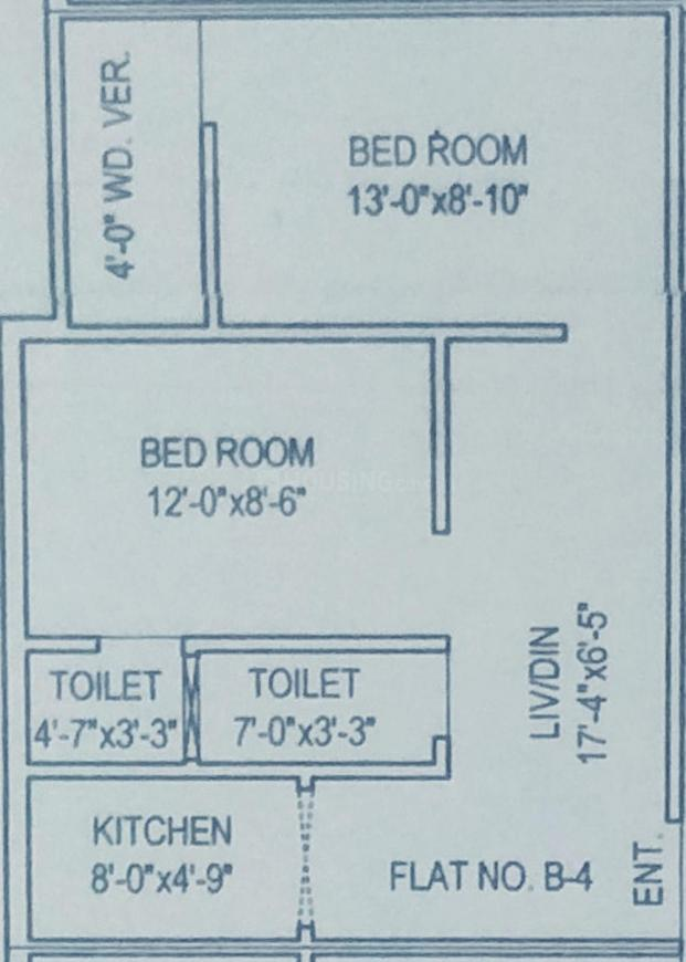 Ghosh Apartment Floor Plan: 2 BHK Unit with Built up area of 653 sq.ft 1