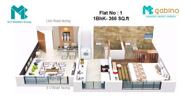 MK Gabino Floor Plan: 1 BHK Unit with Built up area of 366 sq.ft 1