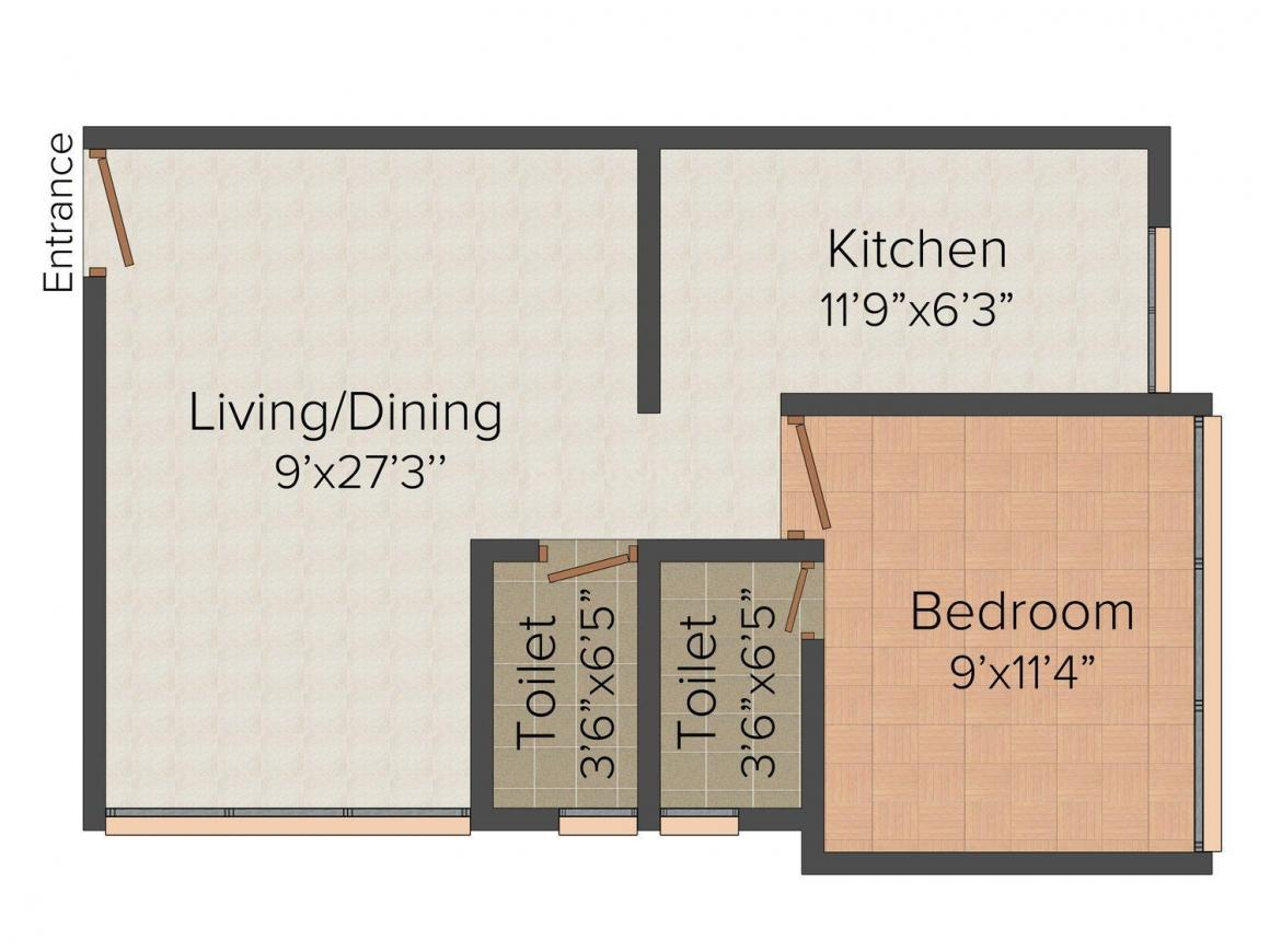 Floor Plan Image of 0 - 435.0 Sq.ft 1 BHK Apartment for buy in Dam Jay Hari CHS LTD